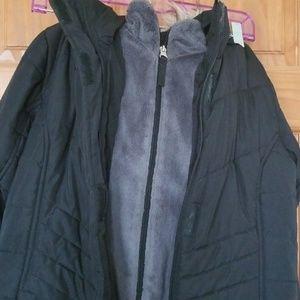 swisstech Jackets & Coats - Swisstech Black winter coat w/removable fur hood